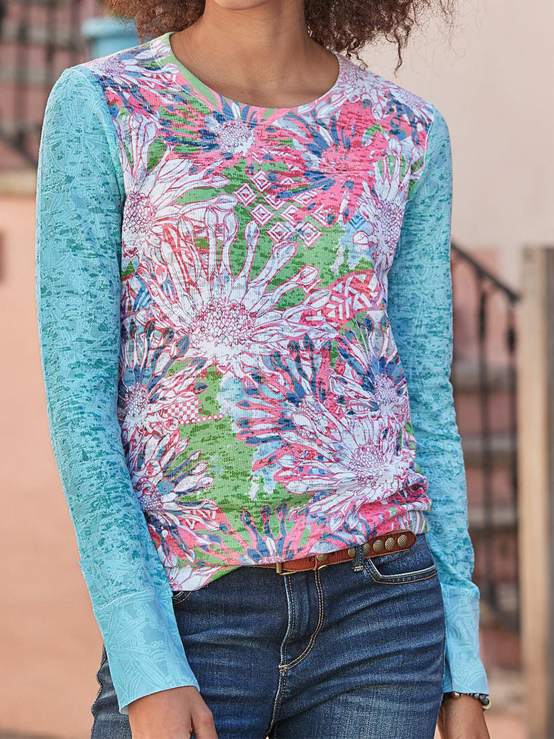 Blue Casual Cotton-Blend Printed Shirts & Tops