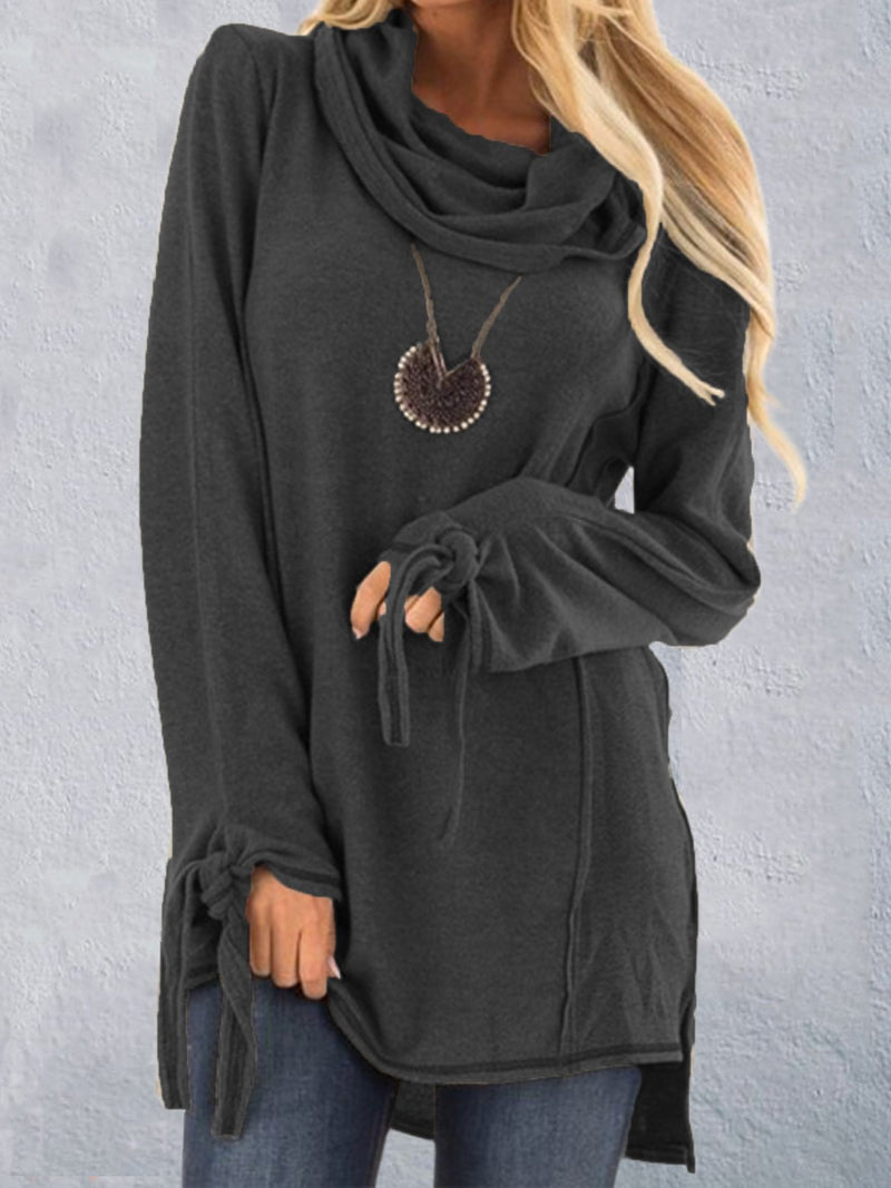 Grey Casual Cowl Neck Plus Size Sweater