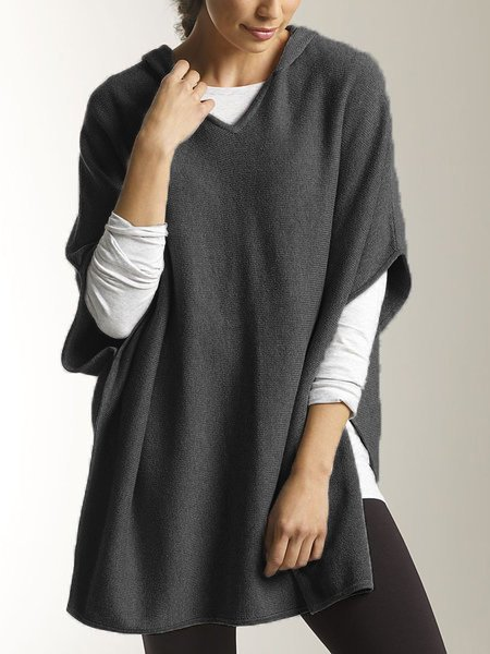 Gray Half Sleeve Hoodie Casual Wool Blend Plain T-Shirts