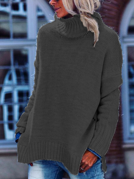 Shift Casual Knitted Solid Turtleneck Sweater