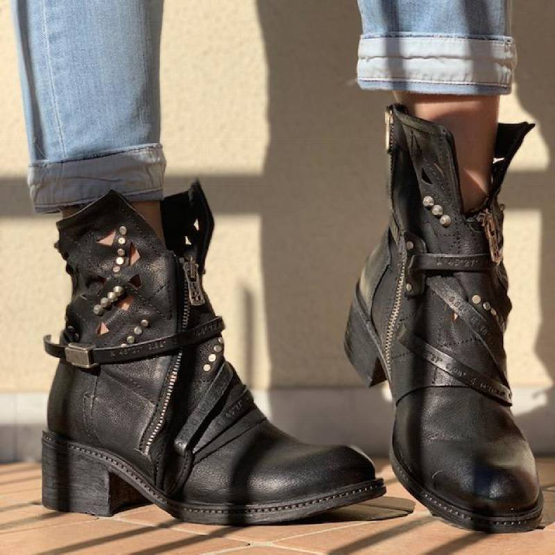 Plus Size Vintage Leather Rivet Boot