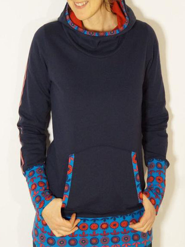 Blue Long Sleeve Cotton-Blend Sweatshirt