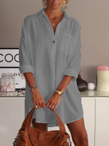 White Plain Long Sleeve V Neck Cotton Plus Size Causal Dresses