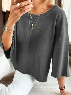 Casual Plain Shift Soft Plus Size Tops