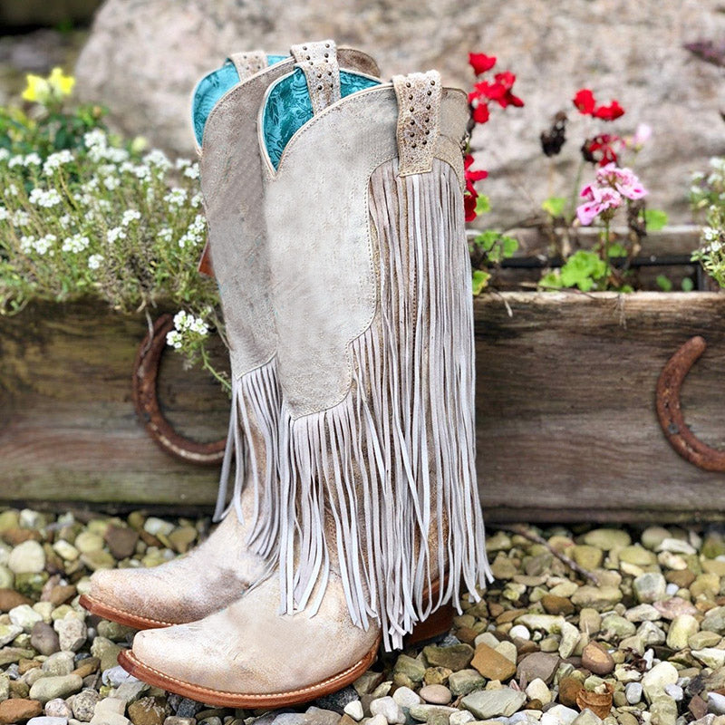 Tassel Artificial Leather Boots Fringe Knee-High Slip-On Boots
