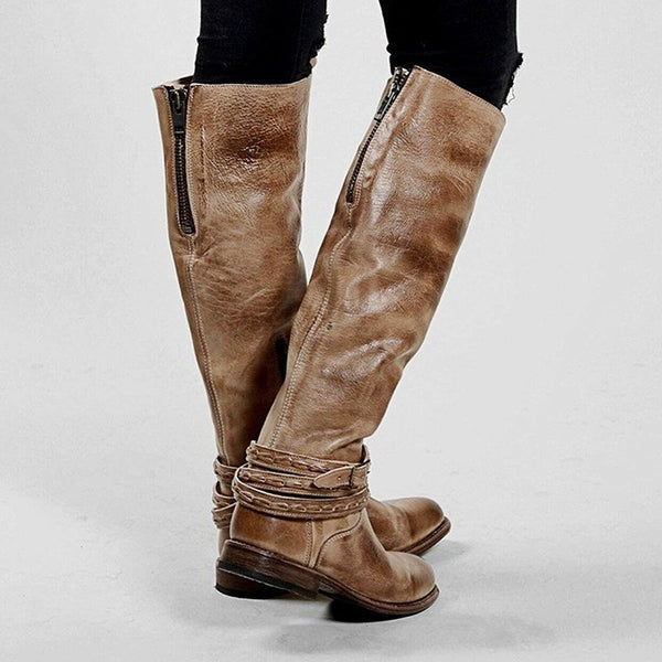 Womens Riding Boots Knee-High Low Heel Zipper Tall Boots