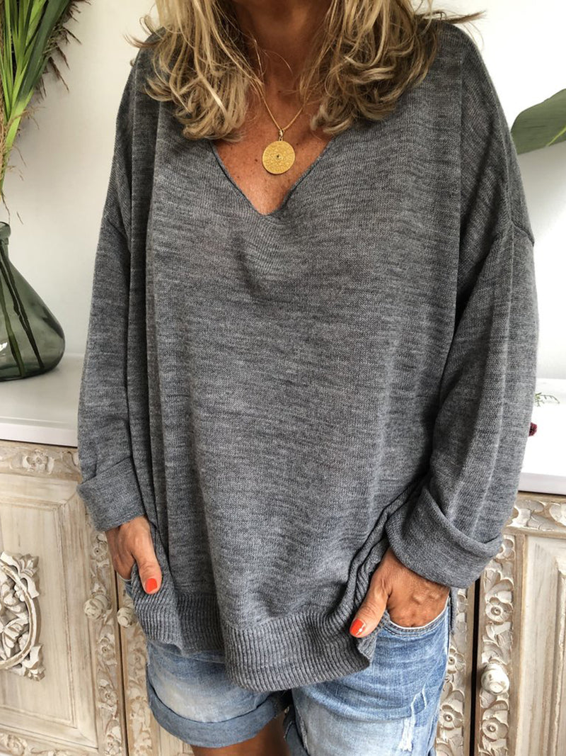 Gray Long Sleeve V Neck Knitted Stripes Shirts & Tops