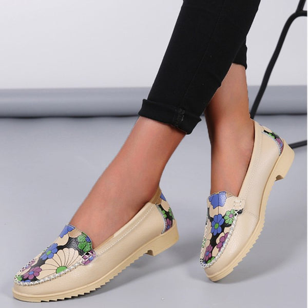 Floral Low Heel Slip-On All Season Flats