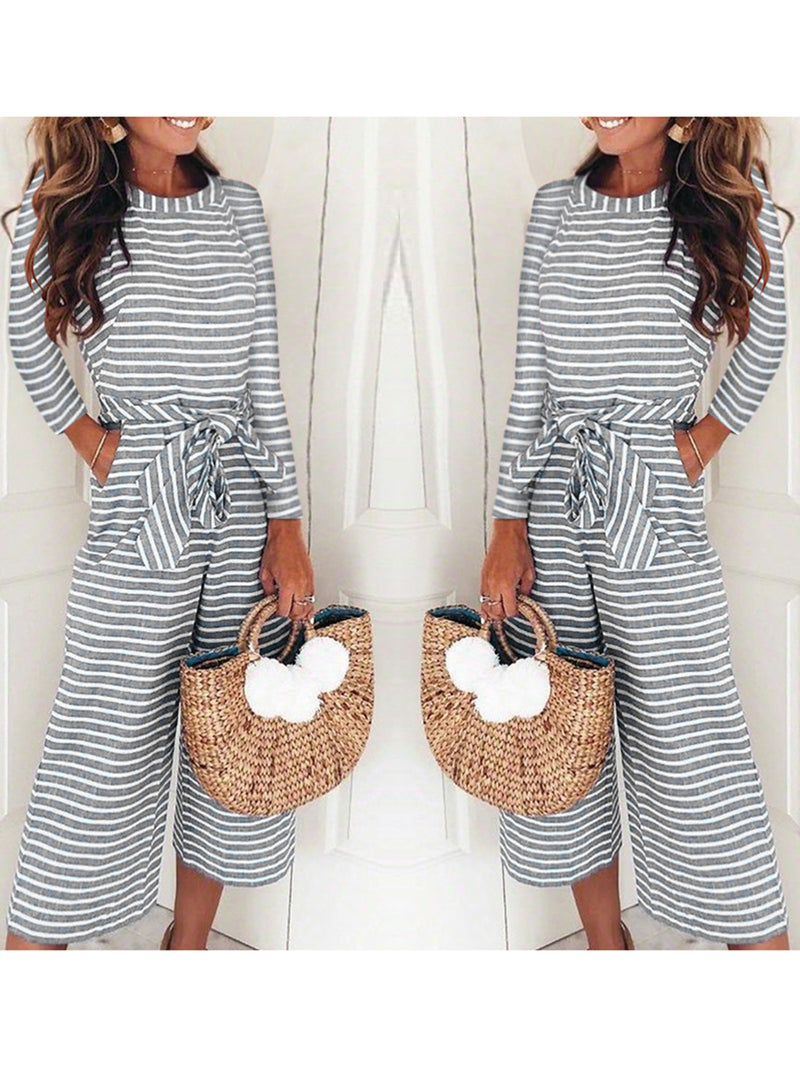 Floral-Print Stripes Long Sleeve Crew Neck One-Pieces