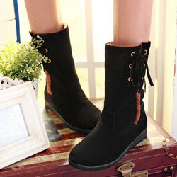 Winter Faux Fur Lining Flat Heel Mid-Calf Snow Boots