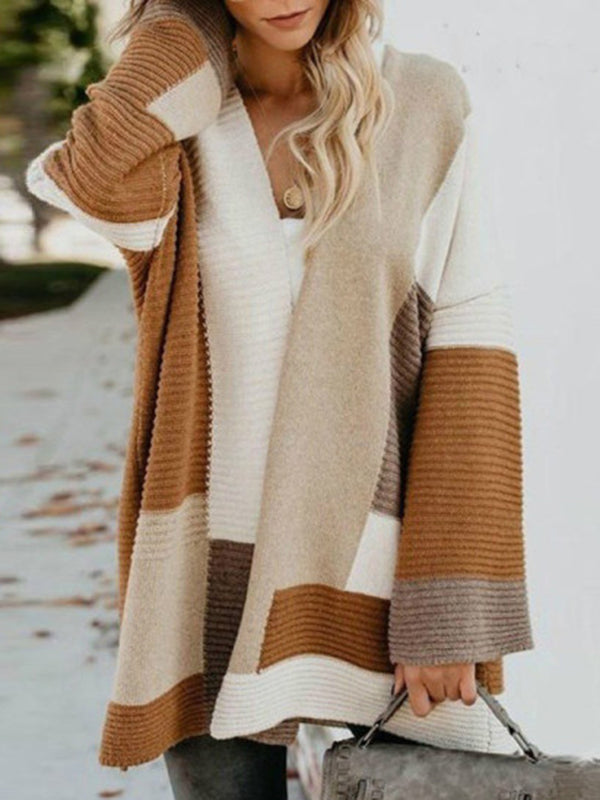 Plus Size Color Block Women 2019 Long Knitted Cardigans