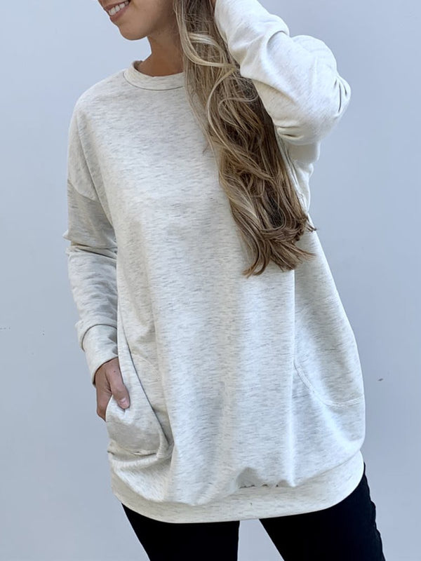 Pockets Cotton-Blend Long Sleeve Shirts & Tops