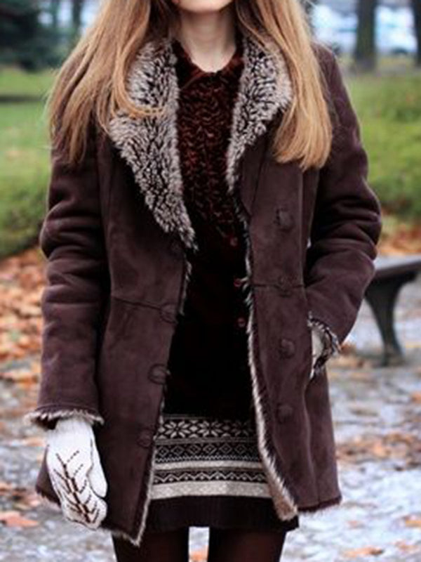 Brown Solid Jacket Fur Long Sleeve Coat