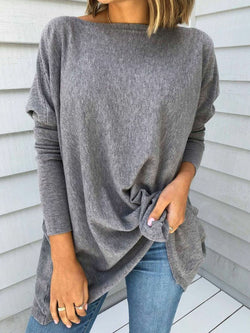 Plus Size Solid Loose Fit Batwing Women Basic Tops