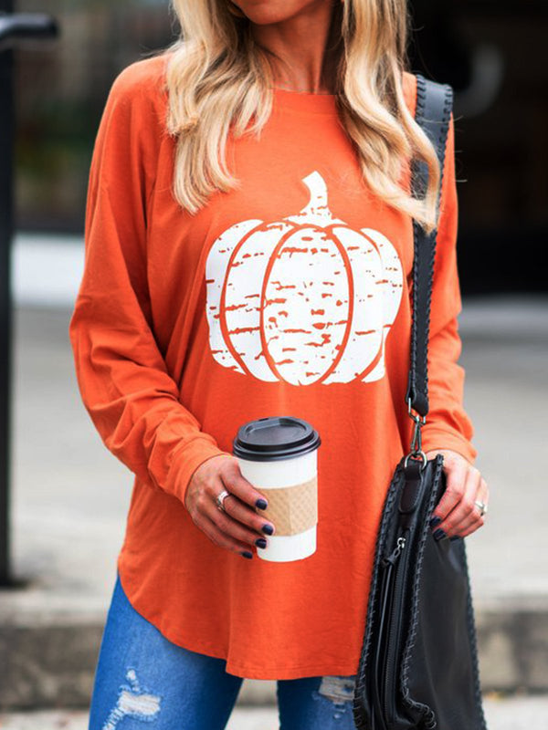 Orange Halloween Long Sleeve Casual Vintage Shirts & Tops