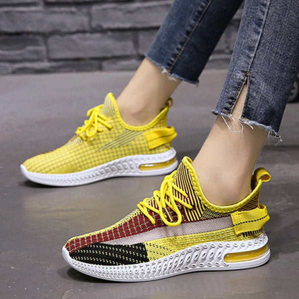Women Athletic Panel Mesh Fabric Lace-Up Flat Heel Sneakers