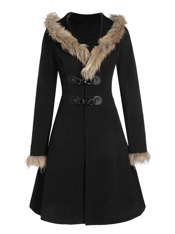 Hoodie Fur Collar Coat Paneled Long Sleeve Outerwear