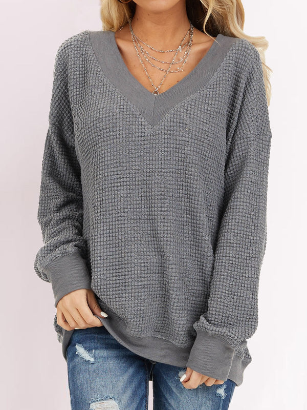 Gray V Neck Solid Knitted Long Sleeve Shirts & Tops