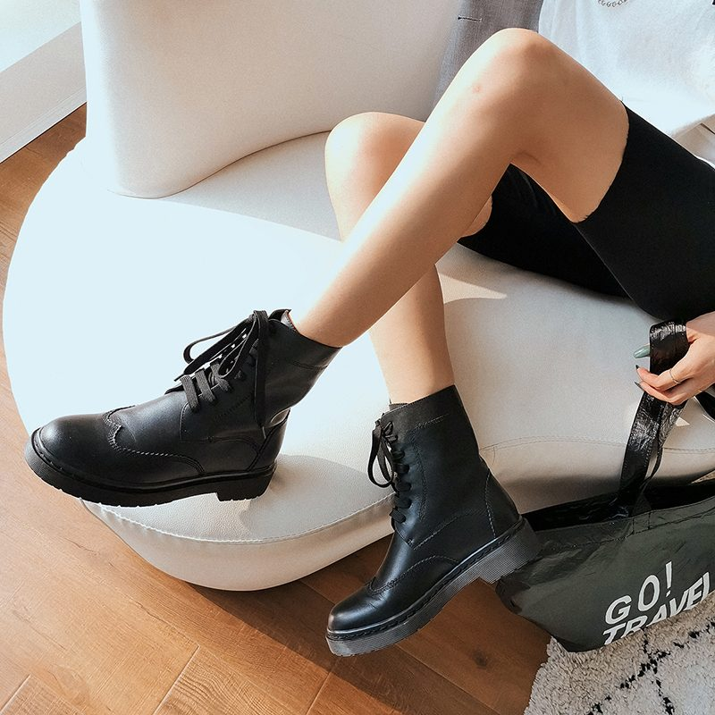 Stylish Genuine Leather Round Toe Flat Heel Martin Boots