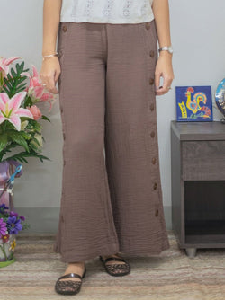 Brown Cotton Casual Pants