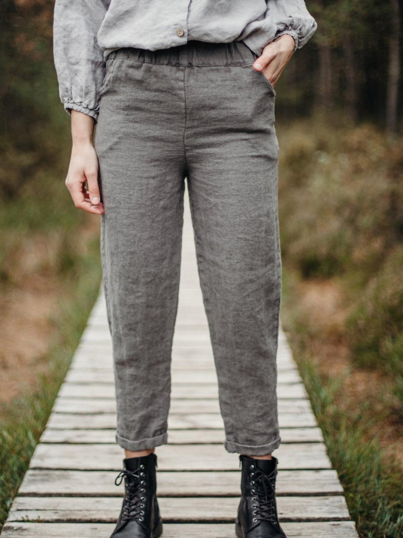 Gray Cotton Vintage Pants