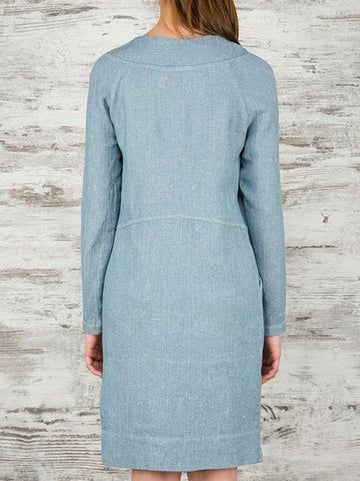Blue Plain Cotton-Blend Long Sleeve Casual Dresses
