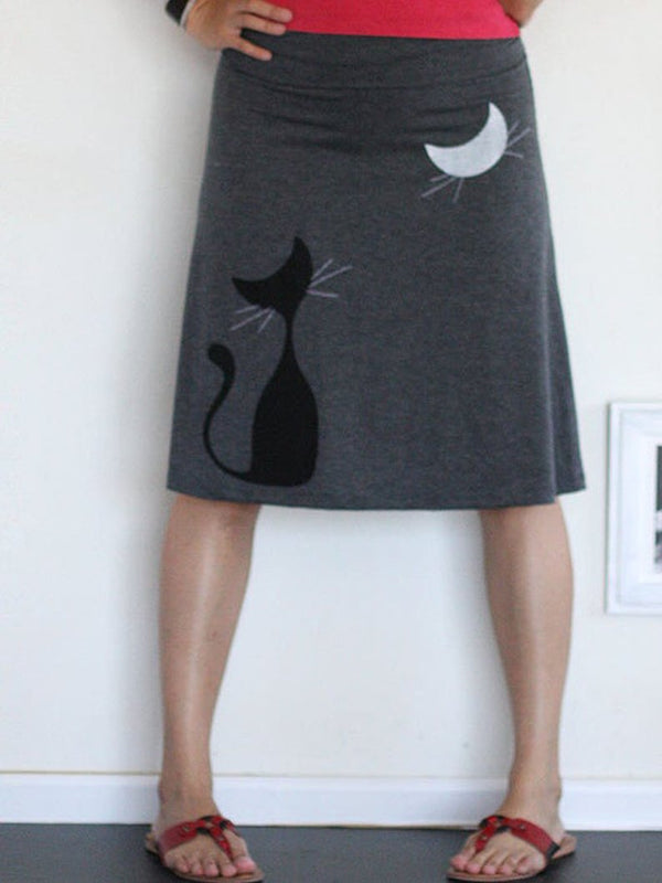 Gray Animal Vintage Skirts