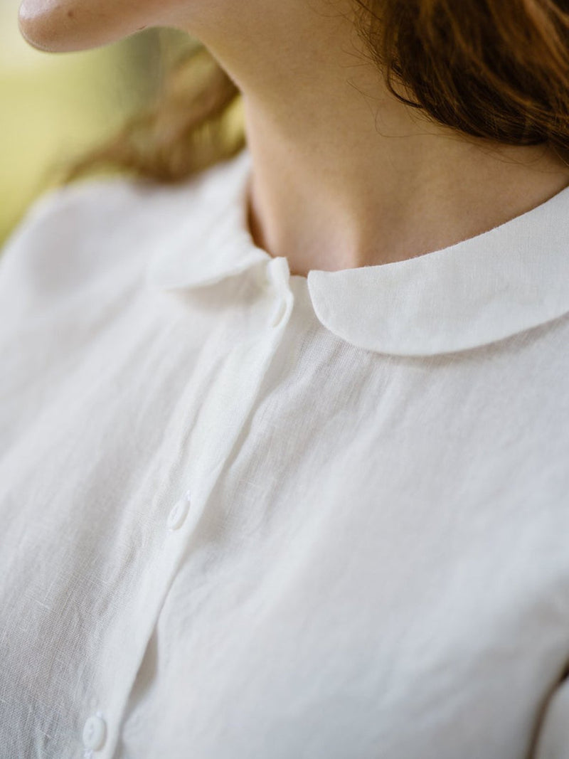 Casual Peter Pan Collar Linen Shirts