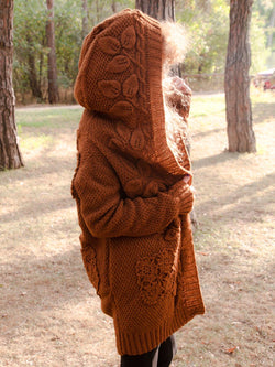 Brown Casual Knitted Outerwear