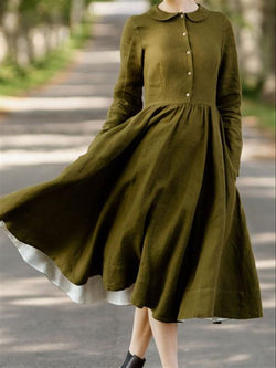 Casual Vintage Basic Daily Long Sleeve Plus Size Dress