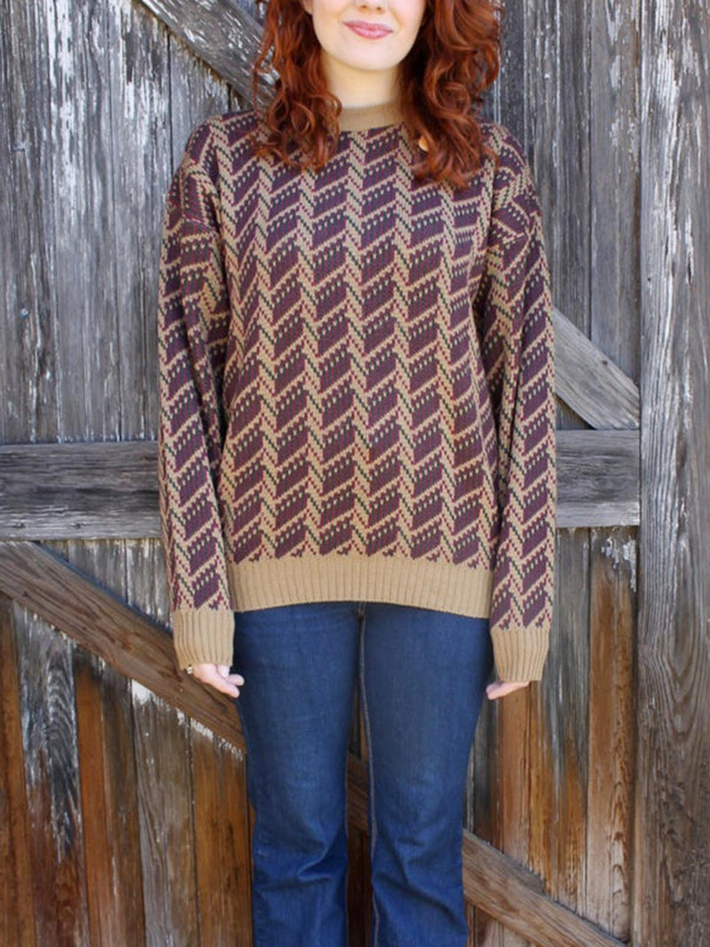 Brown Casual Crew Neck Sweater