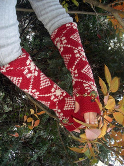 Red Cotton-Blend Sweet Gloves & Mittens