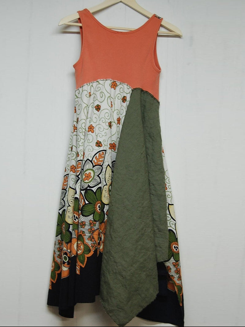 V Neck Orange Women Dresses Shift Date Paneled Floral Dresses