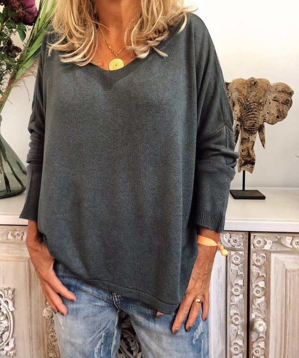 V Neck Casual Cotton Solid Shirts & Tops