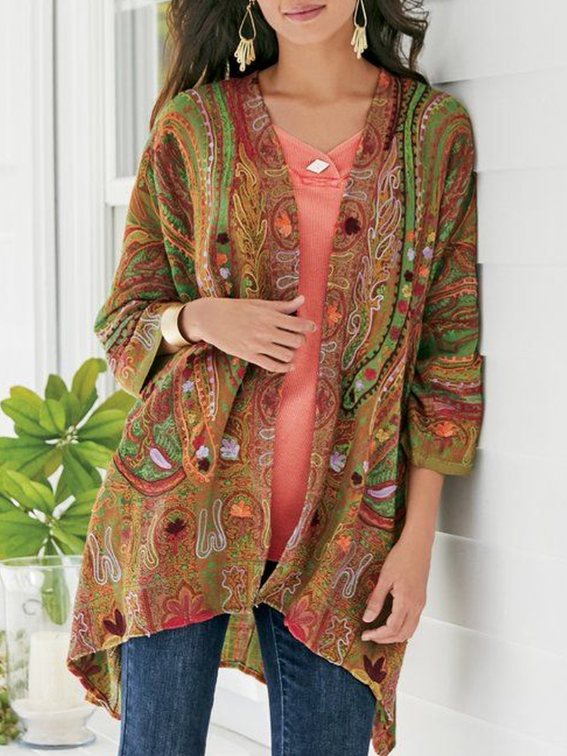 Multicolor Long Sleeve Cotton-Blend Plus Size Outerwear
