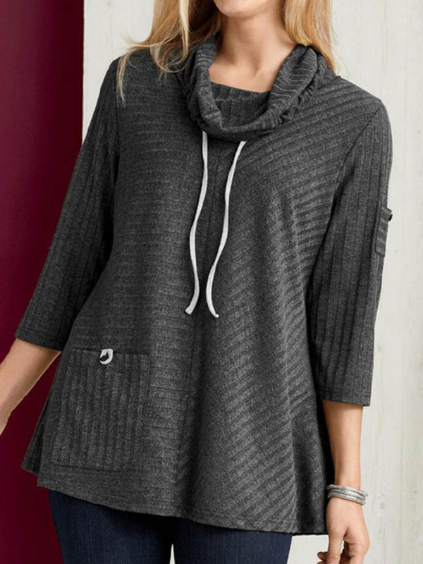 Gray Cotton-Blend Drawstring Cowl Neck Casual Sweatshirt