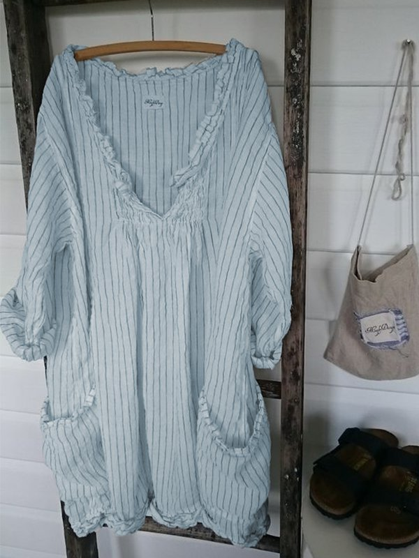 Women V-Neck 3/4 Sleeve Striped Casual Dresses