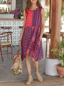 Floral Cotton-Blend Boho Round Neck Dresses