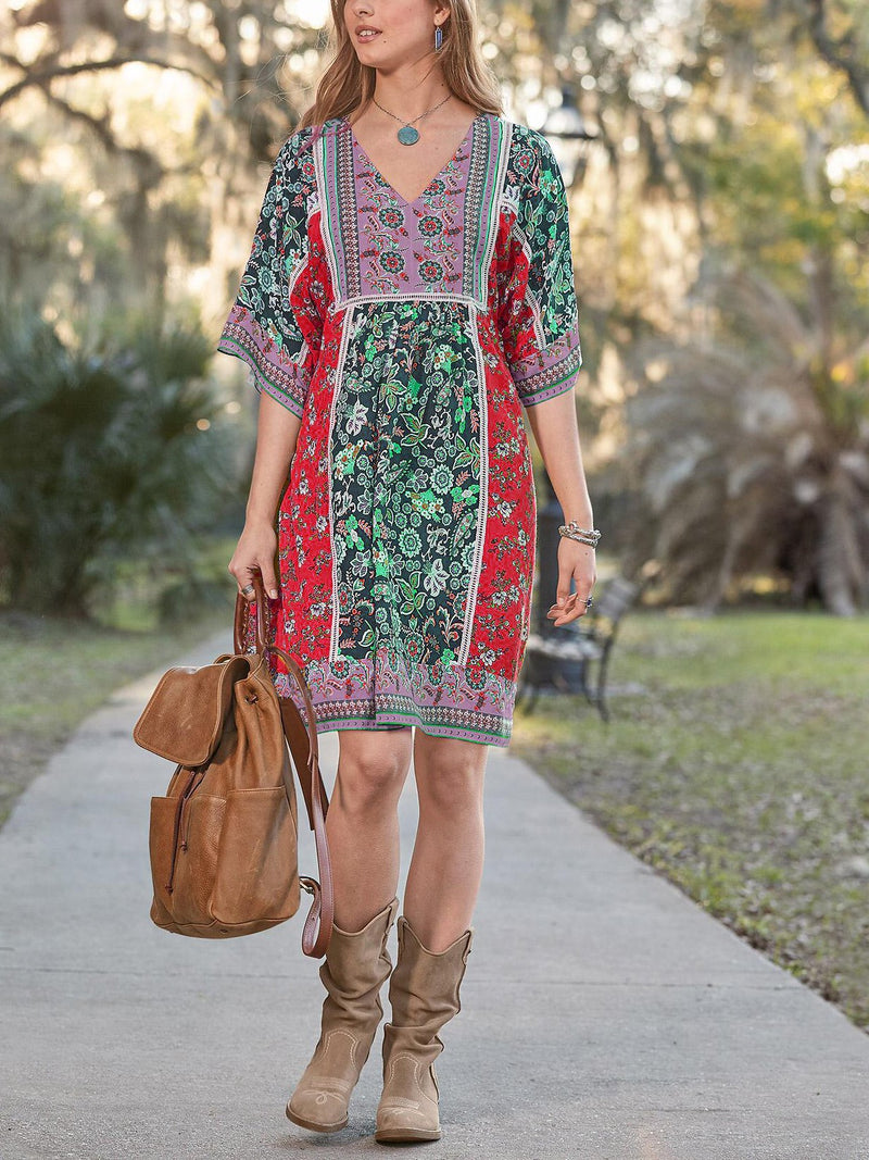 V Neck Floral Casual Cotton-Blend Dresses