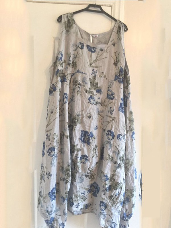 Women's  Casual Round  Neck  Floral Sleeveless  Dresses
