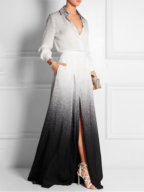 Elegant Color-Block Maxi Dress