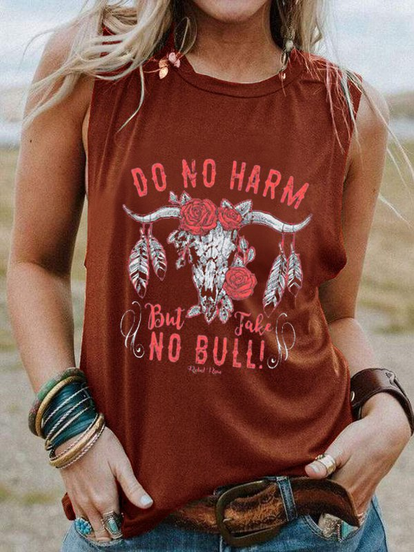 Round Neck Sleeveless Bull Head Print Casual Top