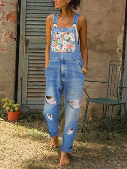 Women Sleeveless One-Pieces Jeans Pants Overalls
