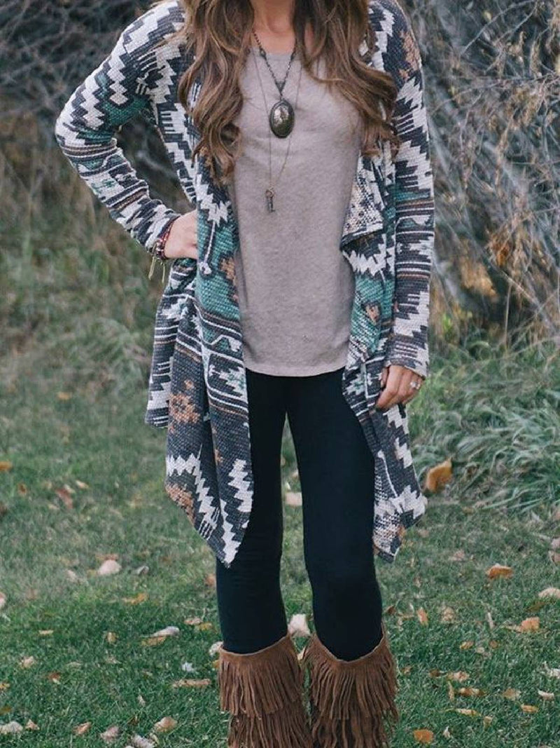 Gray Long Sleeve Printed Outerwear