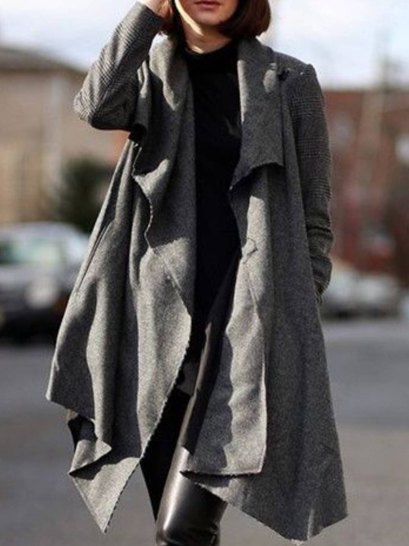Gray Plain Casual Cotton Outerwear