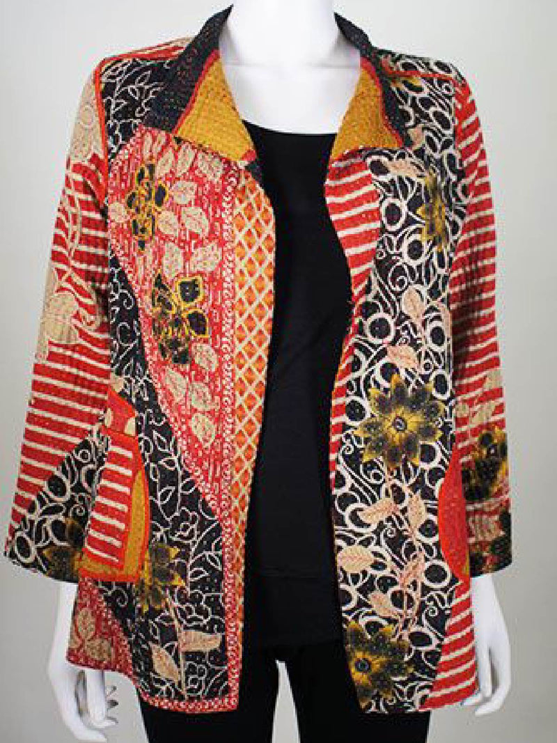 Orange Vintage Shawl Collar Outerwear