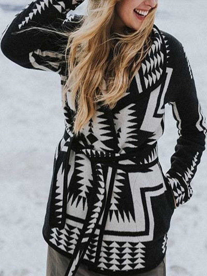 Black Printed Knitted Long Sleeve plus size Outerwear