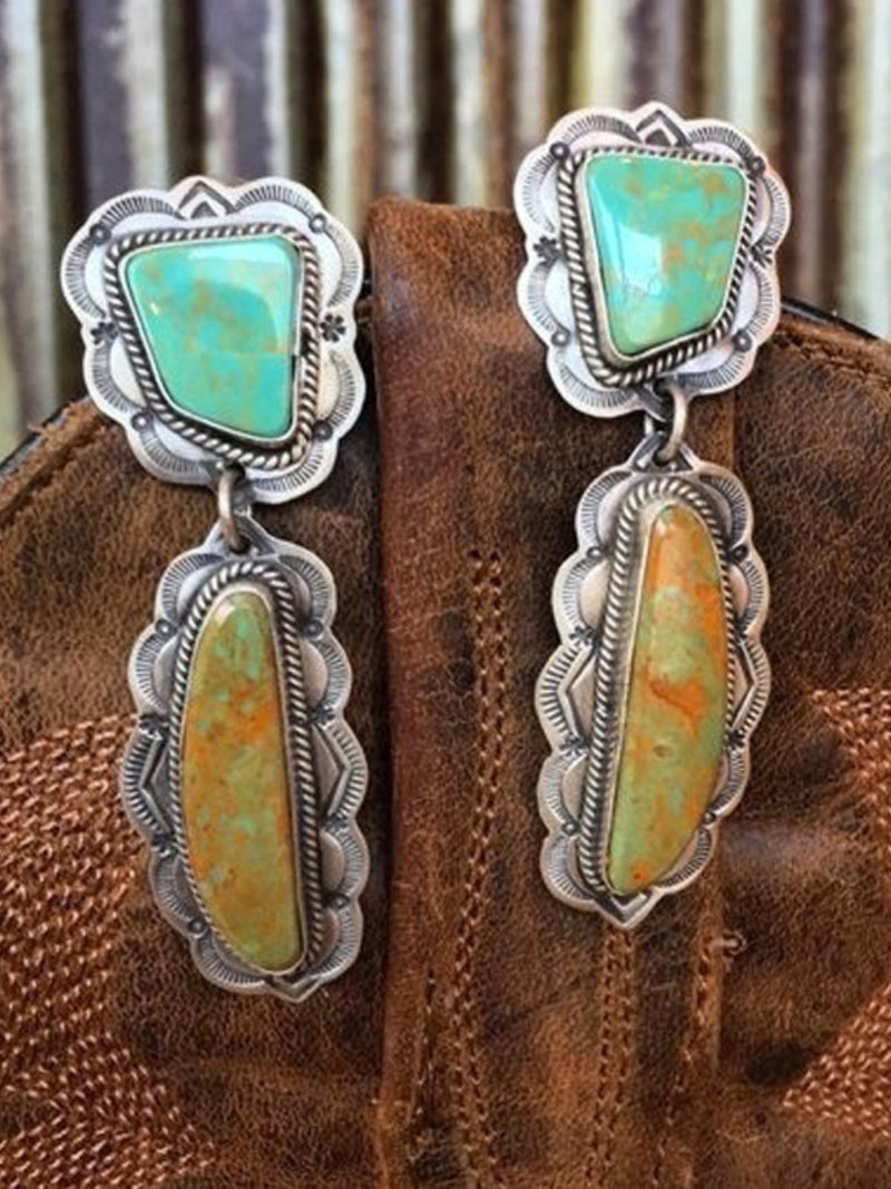 Fashion Vintage Turquoise 925 Sterling Silver Earrings