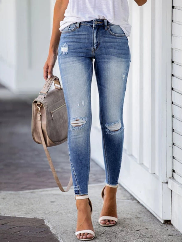 Blue Denim Casual plus size Pants