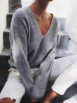 Grey V Neck Long Sleeve Knitted plus size Sweater